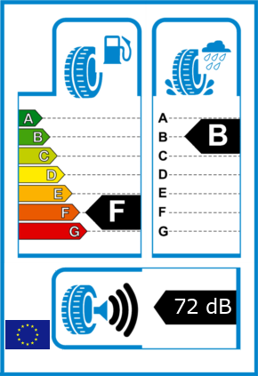 EU-Reifel-Label Kraftstoffeffizienz-Klasse F Nasshaftung-Klasse B Rollgeraeusch-Klasse 3 Rollgeraeusch-dB 72