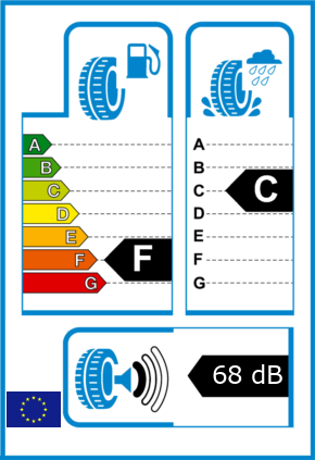 EU-Reifel-Label Kraftstoffeffizienz-Klasse F Nasshaftung-Klasse C Rollgeraeusch-Klasse 1 Rollgeraeusch-dB 68