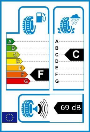 EU-Reifel-Label Kraftstoffeffizienz-Klasse F Nasshaftung-Klasse C Rollgeraeusch-Klasse 1 Rollgeraeusch-dB 69