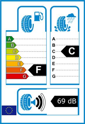 EU-Reifel-Label Kraftstoffeffizienz-Klasse F Nasshaftung-Klasse C Rollgeraeusch-Klasse 2 Rollgeraeusch-dB 69