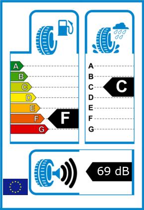 EU-Reifel-Label Kraftstoffeffizienz-Klasse F Nasshaftung-Klasse C Rollgeraeusch-Klasse 3 Rollgeraeusch-dB 69
