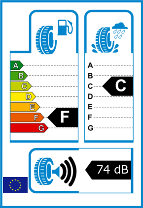EU-Reifel-Label Kraftstoffeffizienz-Klasse F Nasshaftung-Klasse C Rollgeraeusch-Klasse 3 Rollgeraeusch-dB 74