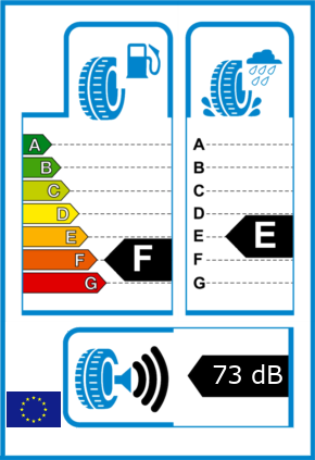 EU-Reifel-Label Kraftstoffeffizienz-Klasse F Nasshaftung-Klasse E Rollgeraeusch-Klasse 3 Rollgeraeusch-dB 73