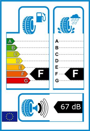 EU-Reifel-Label Kraftstoffeffizienz-Klasse F Nasshaftung-Klasse F Rollgeraeusch-Klasse 1 Rollgeraeusch-dB 67