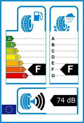 EU-Reifel-Label Kraftstoffeffizienz-Klasse F Nasshaftung-Klasse F Rollgeraeusch-Klasse 3 Rollgeraeusch-dB 74