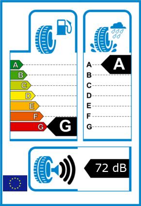 EU-Reifel-Label Kraftstoffeffizienz-Klasse G Nasshaftung-Klasse A Rollgeraeusch-Klasse 3 Rollgeraeusch-dB 72