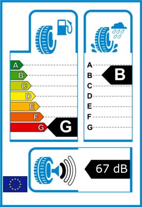 EU-Reifel-Label Kraftstoffeffizienz-Klasse G Nasshaftung-Klasse B Rollgeraeusch-Klasse 1 Rollgeraeusch-dB 67