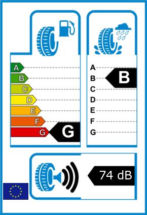 EU-Reifel-Label Kraftstoffeffizienz-Klasse G Nasshaftung-Klasse B Rollgeraeusch-Klasse 3 Rollgeraeusch-dB 74