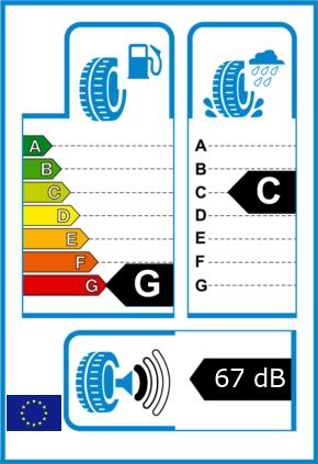 EU-Reifel-Label Kraftstoffeffizienz-Klasse G Nasshaftung-Klasse C Rollgeraeusch-Klasse 1 Rollgeraeusch-dB 67