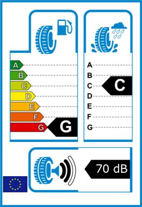 EU-Reifel-Label Kraftstoffeffizienz-Klasse G Nasshaftung-Klasse C Rollgeraeusch-Klasse 2 Rollgeraeusch-dB 70