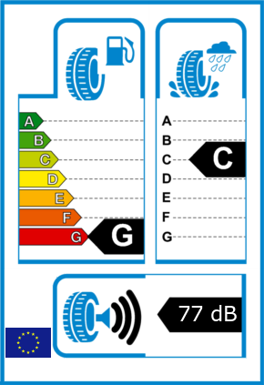EU-Reifel-Label Kraftstoffeffizienz-Klasse G Nasshaftung-Klasse C Rollgeraeusch-Klasse 3 Rollgeraeusch-dB 77