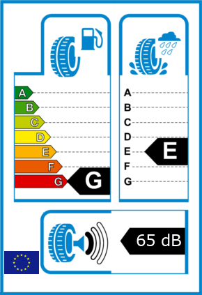 EU-Reifel-Label Kraftstoffeffizienz-Klasse G Nasshaftung-Klasse E Rollgeraeusch-Klasse 1 Rollgeraeusch-dB 65