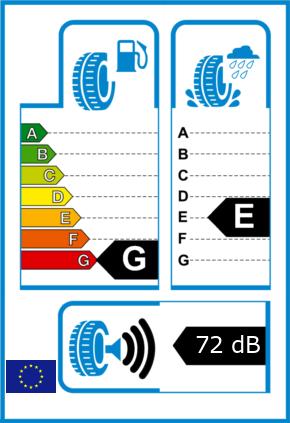 EU-Reifel-Label Kraftstoffeffizienz-Klasse G Nasshaftung-Klasse E Rollgeraeusch-Klasse 3 Rollgeraeusch-dB 72