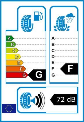 EU-Reifel-Label Kraftstoffeffizienz-Klasse G Nasshaftung-Klasse F Rollgeraeusch-Klasse 2 Rollgeraeusch-dB 72